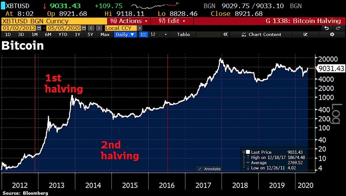 Bitcoin price trend after previous halvings