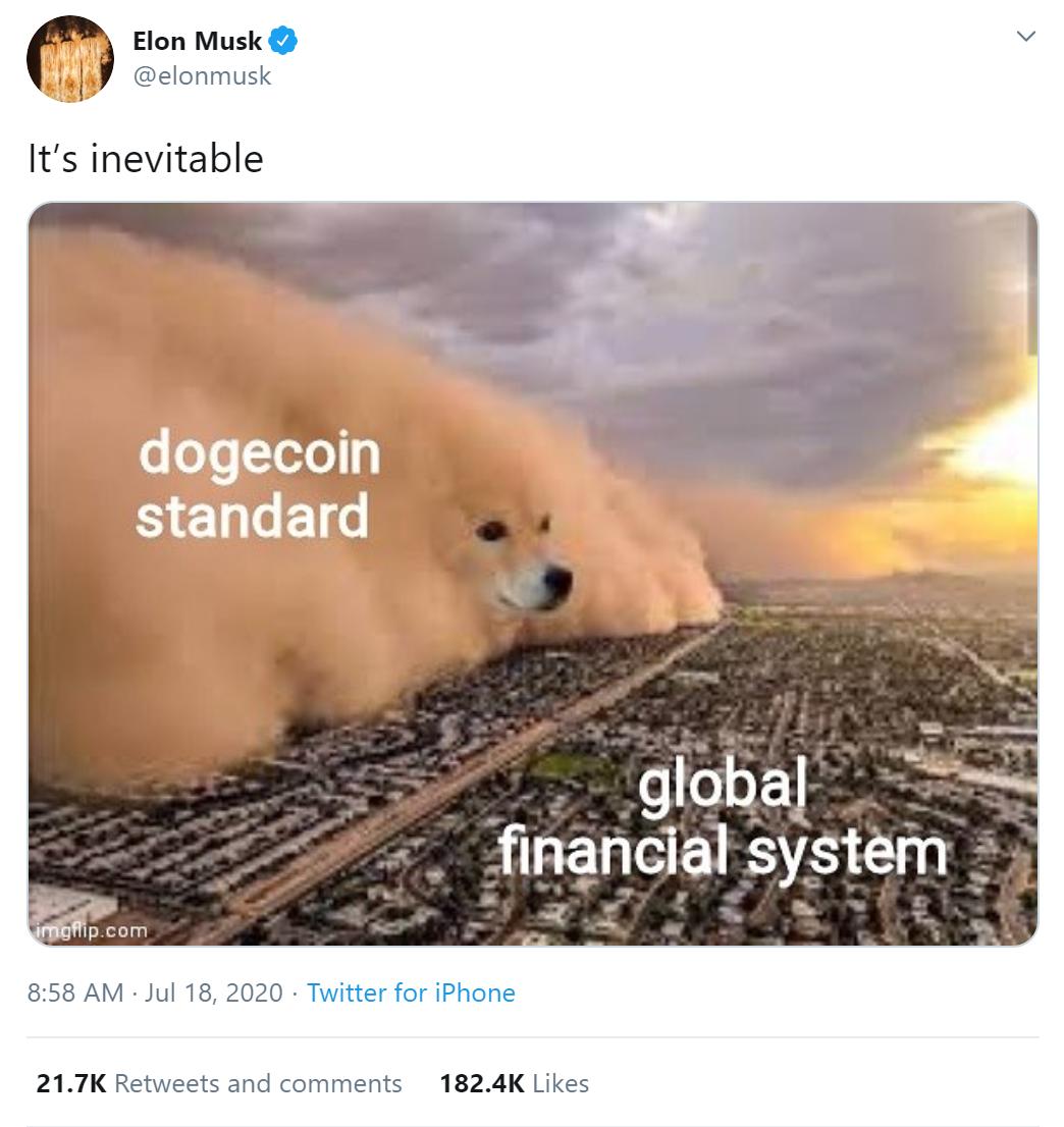 Elon Musk tuitea un meme de Dogecoin